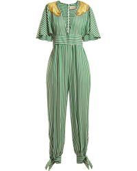 Adriana Degreas - Banana Appliqué Striped Jumpsuit - Lyst