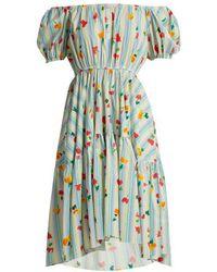 Caroline Constas - Striped Floral-print Cotton-blend Dress - Lyst