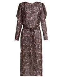 Attico - Livia Rose-print Silk-chiffon Dress - Lyst