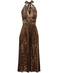 Dolce & Gabbana ホルターネック レオパード シルクブレンドドレス - ブラウン