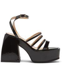 NODALETO Bulla Chibi Patent-leather Platform Sandals - Black
