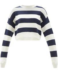 Miu Miu - Logo-embroidered Cropped Stripe Wool Sweater - Lyst