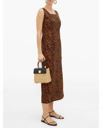 Lisa Marie Fernandez Charlotte Zebra-print Cotton Midi Dress - Brown