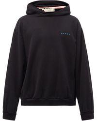 Marni Logo-print Cotton-jersey Hooded Sweatshirt - Black