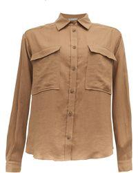 Three Graces London Willow Safari Linen Shirt - Natural