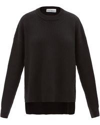 Paco Rabanne オーバーサイズ サイドファスナー ウールセーター - ブラック