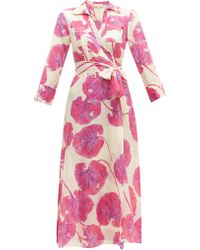 Diane von Furstenberg Robe portefeuille en voile de coton mélangé - Rose
