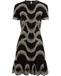 ea0af477159a7b Alexander McQueen 3d Wave Stripe Jacquard Knit Pencil Dress in Brown ...