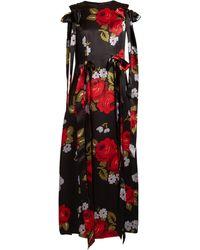 Simone Rocha Bow-trim Floral-print Silk-satin Dress - Black