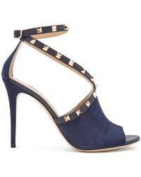 Valentino - Rockstud Cross-strap Suede Court Shoes - Lyst
