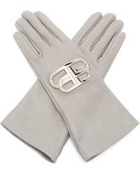 Balenciaga Bb Plaque Leather Gloves - Grey