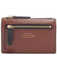 Smythson Leather Zip Purse - Brown