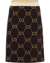 Gucci GGジャカード ウールブレンド ミニスカート - ブラック