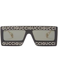 Gucci Hollywood Forever Rectangle Acetate Sunglasses - Black