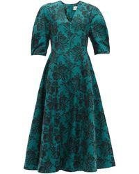 Erdem Cressida Rose-jacquard Cotton Dress - Green