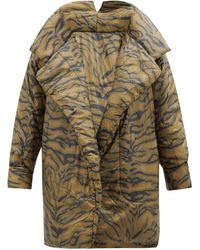Norma Kamali Sleeping Bag Tiger-striped Padded-nylon Coat - Brown