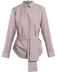 Toga - Point-collar Tie-waist Striped Cotton-poplin Shirt - Lyst