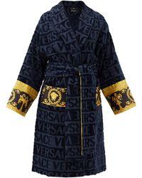 Versace アイ ラブ バロック ロゴジャカード バスローブ - ブルー