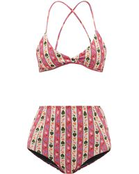 Muzungu Sisters Willow High-rise Botanical-print Bikini - Pink