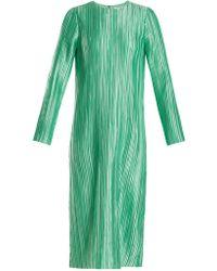 Tibi - Plissé-pleated Long-sleeved Midi Dress - Lyst