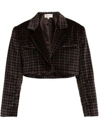 Isa Arfen - Tartan-checked Cotton-velvet Cropped Jacket - Lyst