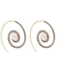 Noor Fares - Spiral Moon 18kt Gold, Diamond & Pearl Earrings - Lyst