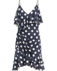 Balmain Ruffled Polka-dot Silk Mini Dress - Blue
