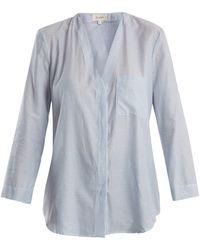 Isa Arfen - V-neck Striped Cotton Shirt - Lyst
