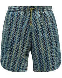 SMR Days Hiri Zigzag-print Canvas Shorts - Green