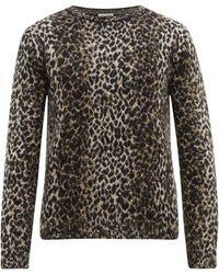 Saint Laurent Leopard-jacquard Wool-blend Jumper - Brown
