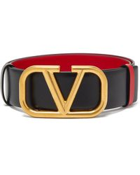 Valentino Vロゴ リバーシブル レザーベルト - マルチカラー