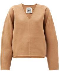 Totême Rennes V-neck Wool-blend Sweater - Multicolor