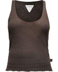 Bottega Veneta Scoop-neck Fine-knit Cashmere Tank Top - Brown