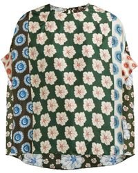 Biyan Swarna Floral Pint Silk Blouse - Green