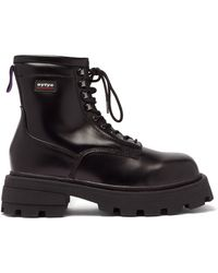 Eytys Michigan Raised-sole Leather Military Boots - Black