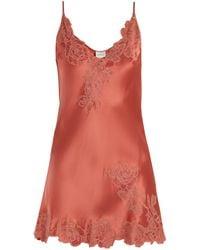 Carine Gilson - Lace-trimmed Silk-satin Slip - Lyst
