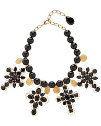 Dolce & Gabbana Beaded Cross-embellished Choker Necklace - Multicolour