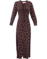 Cefinn オフィリア フローラルシルクツイルドレス - マルチカラー