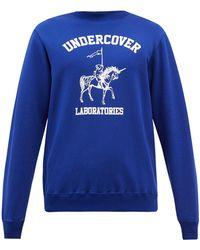 Undercover ホース&ロゴプリント コットンスウェットシャツ - ブルー