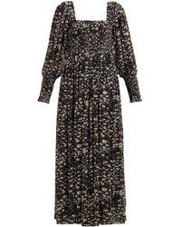 Ganni Floral-print Georgette Maxi Dress - Black