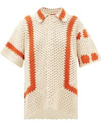 Bode Sunspot Striped Cotton-crochet Shirt - Multicolour