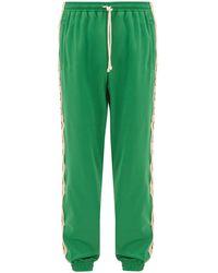 Gucci GG-jacquard Side-stripe Technical Trackpants - Green