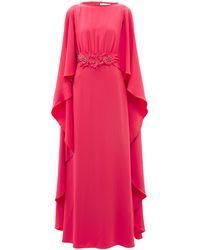 Carolina Herrera ケープバック フローラルクレープドレス - ピンク