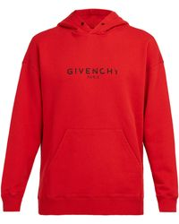 Givenchy Distressed Logo-print Loopback Cotton-jersey Hoodie - Red