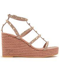 Valentino | Torchon Rockstud Leather Wedge Sandals | Lyst