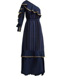 Zeus+Dione Artemis One Shoulder Silk Blend Gown - Blue