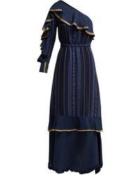 Zeus+Dione Artemis One-shoulder Silk-blend Gown - Blue