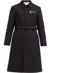 Raf Simons Single-breasted Belted Virgin-wool Trench Coat - Blue