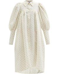 Thierry Colson Wendy Polka-dot Gathered Cotton-poplin Shirt Dress - White