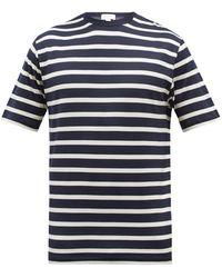Sunspel ボーダー コットンtシャツ - ブルー